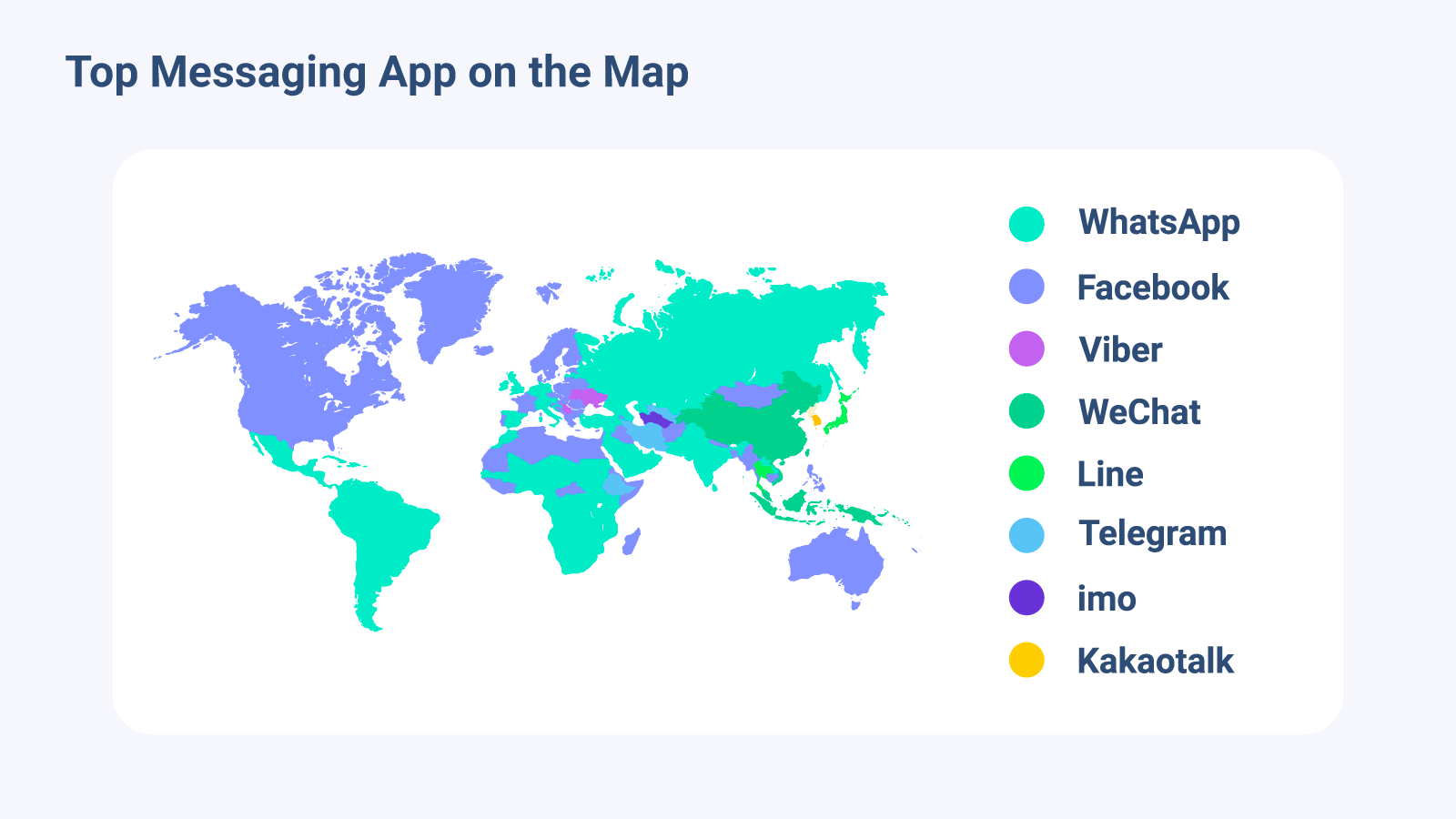 Map of the top messaging apps in the world